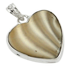 Natural grey striped flint ohio heart 925 sterling silver pendant d19525