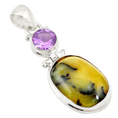 Natural yellow opal purple amethyst 925 sterling silver pendant jewelry d19552