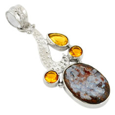Clearance Sale- Natural blue boulder opal citrine 925 sterling silver pendant jewelry d19562