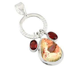 Clearance Sale- Natural multi color mexican fire opal garnet 925 silver pendant d19602