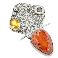 Clearance Sale- 925 silver natural multi color mexican fire opal yellow citrine pendant d19605
