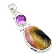 925 sterling silver natural pink bio tourmaline amethyst pendant jewelry d19636