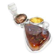 Natural multi color mexican fire agate 925 sterling silver pendant d19655