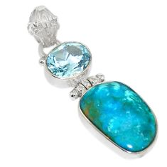 Natural blue opaline topaz 925 sterling silver pendant jewelry d19658