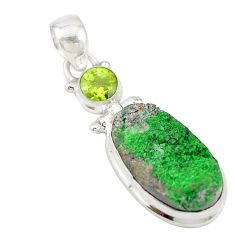 Natural green uvarovite garnet peridot 925 silver pendant jewelry d19665