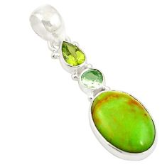 Natural green gaspeite amethyst 925 sterling silver pendant jewelry d19667
