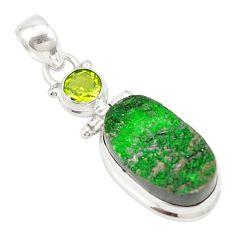 Natural green uvarovite garnet peridot 925 silver pendant jewelry d19670