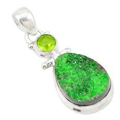 Natural green uvarovite garnet peridot 925 silver pendant jewelry d19671