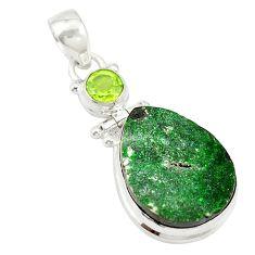 Natural green uvarovite garnet peridot 925 silver pendant jewelry d19676
