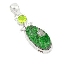 Clearance Sale- Natural green uvarovite garnet peridot 925 silver pendant jewelry d19677