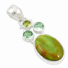 Natural green gaspeite amethyst 925 sterling silver pendant jewelry d19679