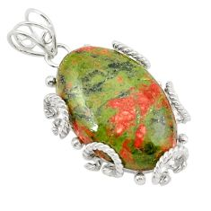Clearance Sale- Natural green unakite 925 sterling silver pendant jewelry d21003