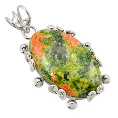Clearance Sale- 925 sterling silver natural green unakite oval pendant jewelry d21004