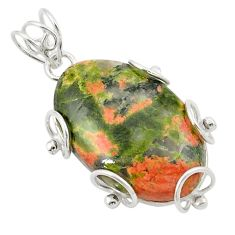 Natural green unakite 925 sterling silver pendant jewelry d21005