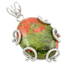 Natural green unakite 925 sterling silver pendant jewelry d21006