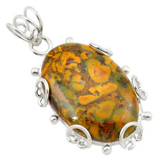 Natural brown bamboo leaf jasper 925 sterling silver pendant d21009