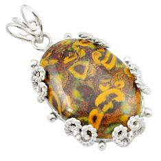 Clearance Sale- Natural brown bamboo leaf jasper 925 sterling silver pendant jewelry d21011