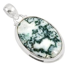 Natural white tree agate 925 sterling silver pendant jewelry d21021