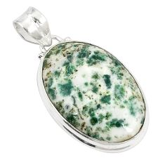 Natural white tree agate 925 sterling silver pendant jewelry d21023