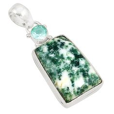 925 sterling silver natural white tree agate topaz pendant jewelry d21024