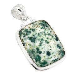 Natural white tree agate 925 sterling silver pendant jewelry d21027