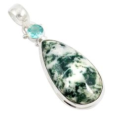 Natural white tree agate blue topaz 925 sterling silver pendant d21029
