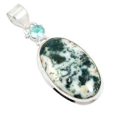 925 sterling silver natural white tree agate topaz pendant jewelry d21030