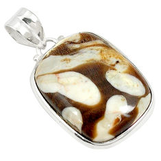 Natural brown peanut petrified wood fossil octagan 925 silver pendant d21049