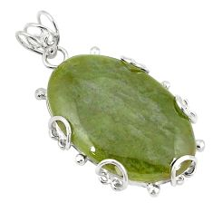 925 sterling silver natural green vasonite oval pendant jewelry d21059