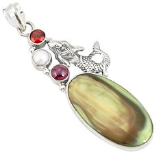 925 silver natural green imperial jasper pearl fairy mermaid pendant d21088