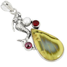 925 silver natural green imperial jasper pearl fairy mermaid pendant d21093