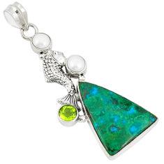 Natural green chrysocolla peridot pearl 925 silver fish pendant d21094