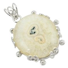 Natural white solar eye 925 sterling silver pendant jewelry d21126