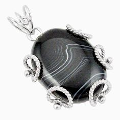 Natural black botswana agate 925 sterling silver pendant jewelry d21148
