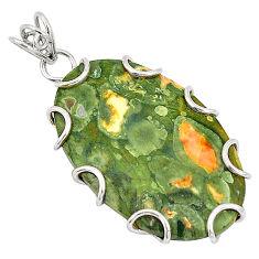Natural green rainforest rhyolite jasper 925 silver pendant jewelry d21155