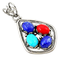 Clearance Sale- Natural blue lapis lazuli coral 925 sterling silver pendant jewelry d21161
