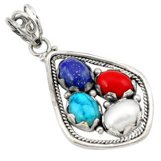 Clearance Sale- Natural blue lapis lazuli coral pearl 925 silver pendant jewelry d21170