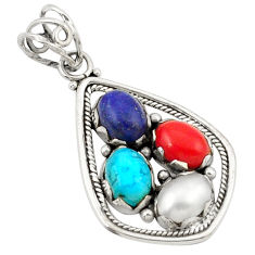 Clearance Sale- 925 sterling silver natural blue lapis lazuli white pearl coral pendant d21175