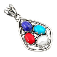 Clearance Sale- Natural blue lapis lazuli pearl red coral 925 silver pendant jewelry d21177