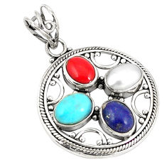 Natural blue lapis lazuli coral pearl 925 silver pendant jewelry d21183