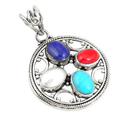 Clearance Sale- Natural blue lapis lazuli coral pearl 925 silver pendant jewelry d21188