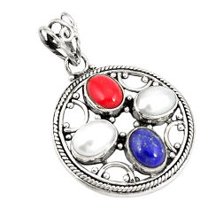 Clearance Sale- Natural blue lapis lazuli coral pearl 925 sterling silver pendant d21189