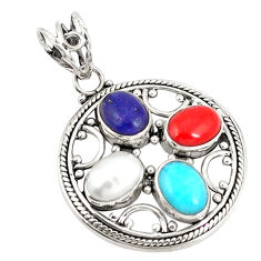Clearance Sale- 925 silver natural blue lapis lazuli coral pearl pendant jewelry d21191