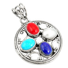 Clearance Sale- Natural blue lapis lazuli coral pearl 925 silver pendant jewelry d21193