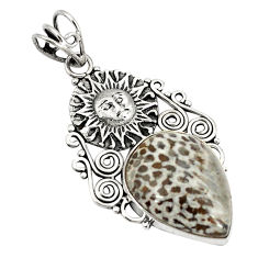 Natural black stingray coral from alaska 925 silver pendant jewelry d21199