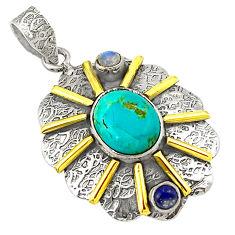 Victorian natural green prehnite 925 silver two tone pendant jewelry d21201