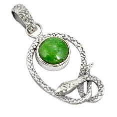 Victorian natural green chrome diopside 925 silver two tone snake pendant d21227