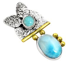 Clearance Sale- Victorian natural blue larimar 925 sterling silver two tone pendant d21228