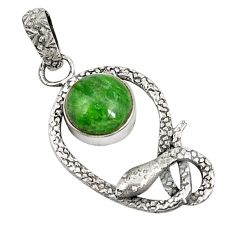 Clearance Sale- 925 silver victorian natural green chrome diopside two tone pendant d21229