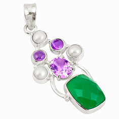 925 sterling silver natural green chalcedony amethyst pearl pendant d21284